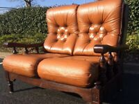 Chesterfield Style Tab Leather Twin ArmChair