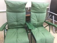 2 Green Padded Sun Chairs
