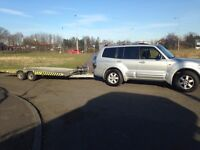 Mitsubishi Shogun and 3.5 ton Brian james twin axle recovery truck transport trailer px swap
