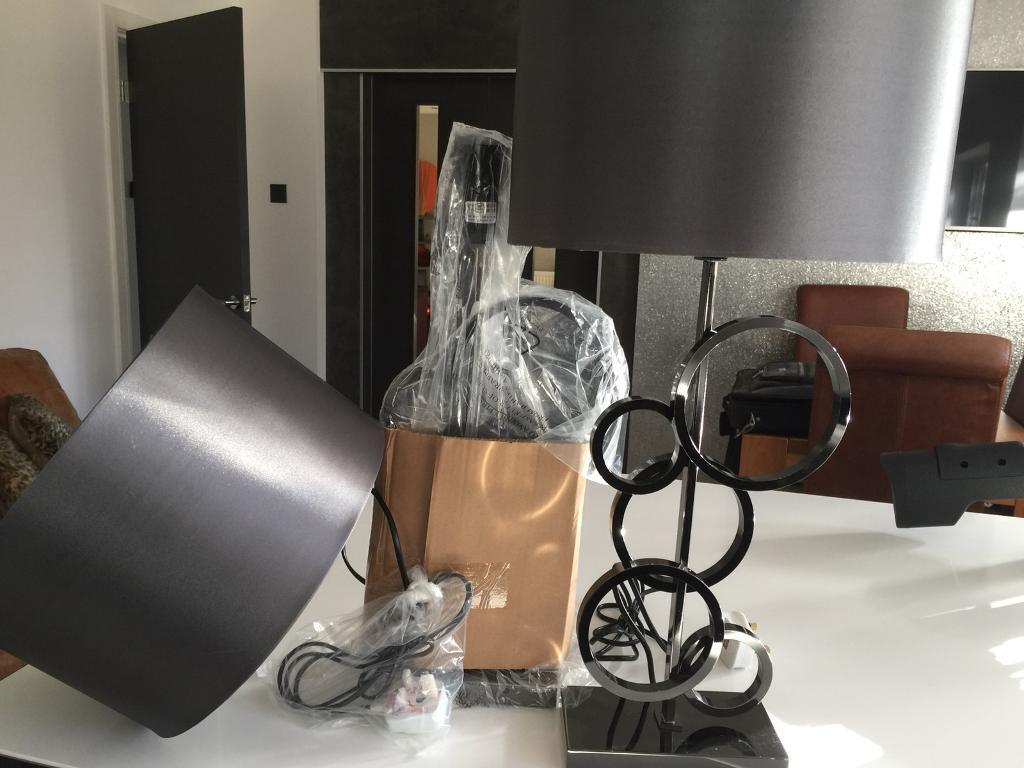 Grey lampshades gunmetal bases x2 bedside table lounge lamps