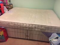 King sized divan bed with mattress