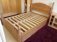 Pine Double Bed Frame with storage drawer SSTC