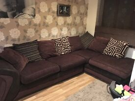 Dfs sofa, large round swivel chair and storage footstool
