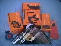 VINTAGE BLACK & DECKER DRILL + 5 ORIGINAL ATTACHMENTS