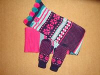 Girls scarf and mittens set - immaculate - age 7