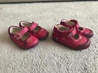 Clarks pink size 3 1/2 leather shoes (2 pairs)
