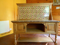 Pine Wash Stand with Marble Top and Antique Tiles