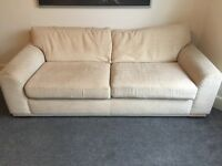 Two Next cream sofas, removable covers, 3 seater & matching 2 seater