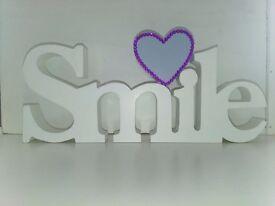 Smile plaque with Purple Rhinestones Crystals