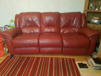 Recliner sofa and 1 recliner matching chair in red leather