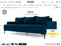Made Oskar sofa shetland blue sofa 3 seater