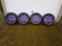 4x100 purple alloy wheels with tyres vauxhall honda mini etc