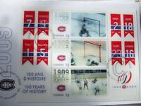 MONTREAL CANADIENS COMMEMORATIVE 100TH HOLOGRAM STAMPS 3X$3.00