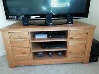 Oak TV unit and oak coffee table