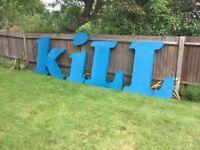 large blue signage