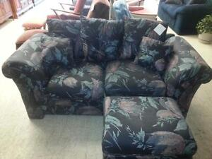 Blue Love Seat and Ottoman