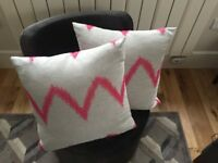 Two Gray Pink Decoratice Pillow Cases