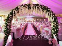 Nottingham Asian Wedding Stages - Decor Table Centerpiece Hire - Flower Wall Foral, Chair covers