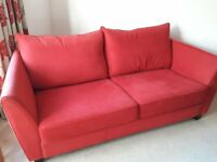 3 seater sofa by Collins and Hayes in luxurious red covering goose feather back cushions
