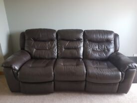 DFS LEATHER 3 SEAT RECLINER SOFA