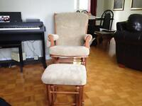 Gliding rocking chair and matching footstool