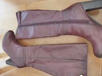 TU Cherry Leather Boots - Size 4. Worn once