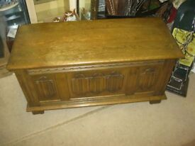 QUALITY ORNATE OAK 'OLD CHARM' BLANKET BOX/CHEST/COFFEE TABLE ETC. VERSATILE USAGE. VIEW/DELIVERY