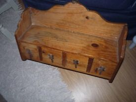 pine wall drawer unit and hooks