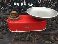 Bright Red Vintage Retro Kitchen Scales Mid-20th Century