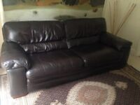 3 Seater leather sofa. Dark brown. Excellent condition.