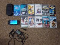 Psp with 11 games case accessories