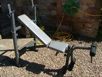 York 530 heavy duty bench, leg ext, lat pulldown, in box PLUS standard bar