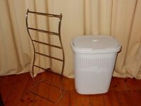FREE DELIVERY White Laundry Basket in knit design + Towel stand + Chrome Shower Caddy Storage