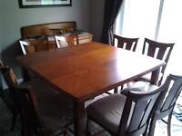 LARGE MODERN TABLE AND EIGHT CHAIRS  AND HUTCH FOR SALE