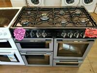 FLAVEL 100CM DUEL FUEL RANGE STYLE COOKER IN SILVER ☆ BRAND NEW ☆