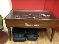 Browning gun display table.