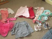 Baby Girls 2 x 0-3 months shoes, 6-9 months dresses, grows, tutu vest, pjs and top