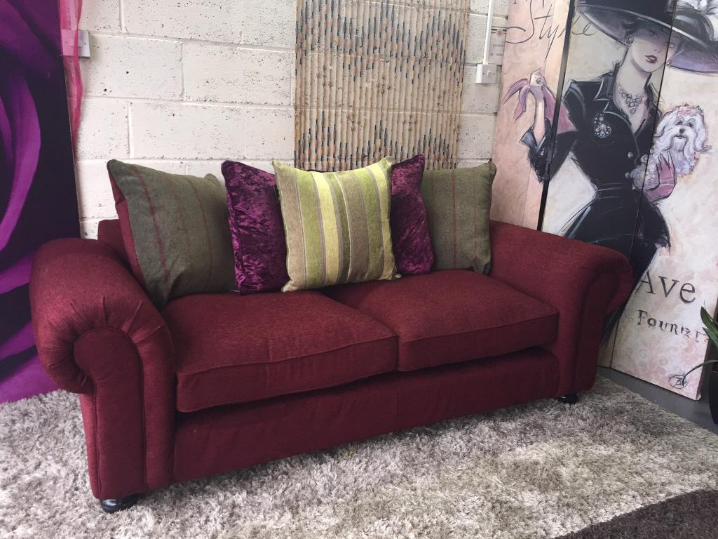 New Orkney 3 Seater Fabric Sofa In Claret With Ter Back Cushions For Christmas