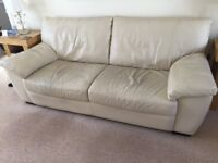 Leather Sofas (Cream), 1 x 3-Seater and 1 x 2-Seater.