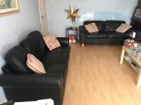 Black leather 2&3 seater sofas - bargain £175 the pair!!!