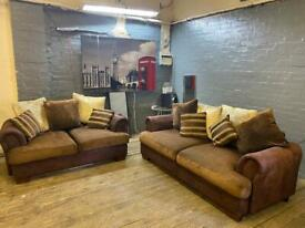 GORGEOUS SUEDE + FABRIC SOFA SET IN EXCELLENT CONDITION