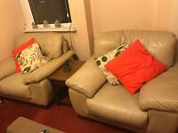 Pair of Large Comfy Cream Leather Armchairs