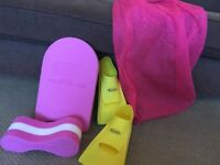 Swimming kit including kick board, pull buoy, flippers (size 1-1.5 uk) & net bag. Collection only