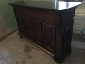 Solid Wood Bar with Marble Top - Two matching stools/set