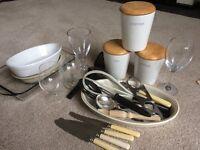 Kitchen utensils, glasses, casserole dishes, cutlery etc
