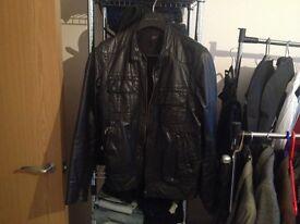 Topman Black Leather Biker Jacket, S