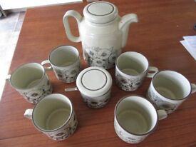 Hornsea pottery Fleur teaset with small mugs