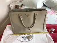 Prada Handbag Bag Grey Dove Gold Hardware Used Large Saffiano Top Handle