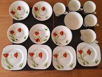 Lovely Vintage Poppy Print Handpainted Tea Set
