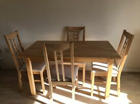 Good quality wooden table and chairs set